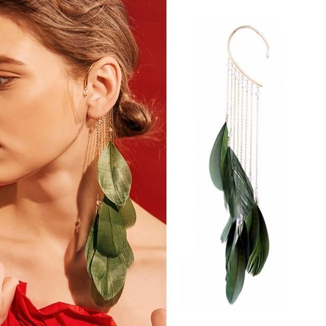 Trendy-Green-Leaves-Feather-Long-Tassels-Cuff-Clip-Earrings-Without-Piercing-Crawlers-Women-Ear-Cuff-Fashion_0