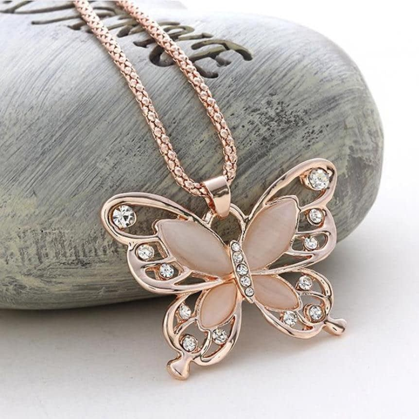 Rose Gold Opal Butterfly Pendant Necklace2