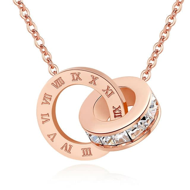 X-P-Fashion-Luxury-Gold-Roman-Numerals-Long-Necklace-Pendant-for-Women-Girl-High-Polish-316Rose gold_0