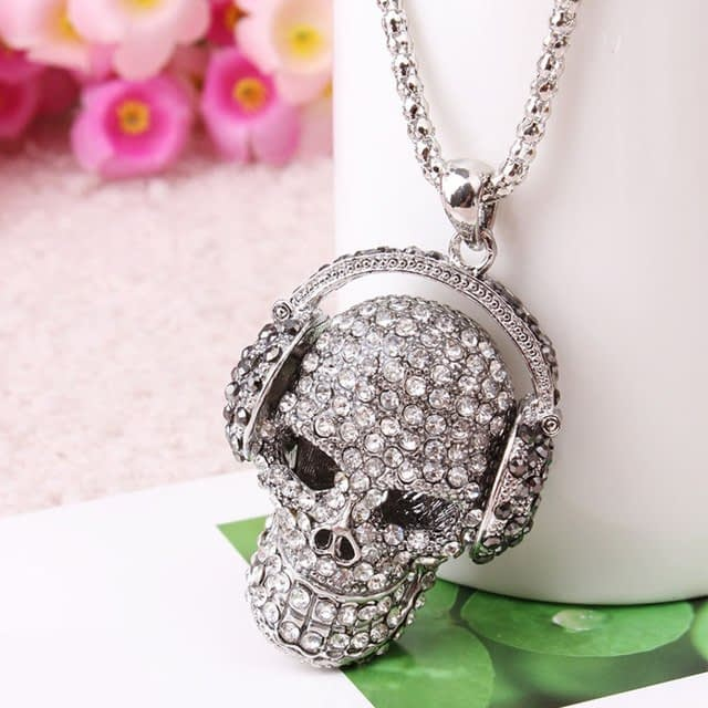 Punk-Gothic-Vintage-Retro-Rhinestone-Skull-Skeleton-Headphone-Charm-Pendant-Necklace-Fashion-Jewelry_0