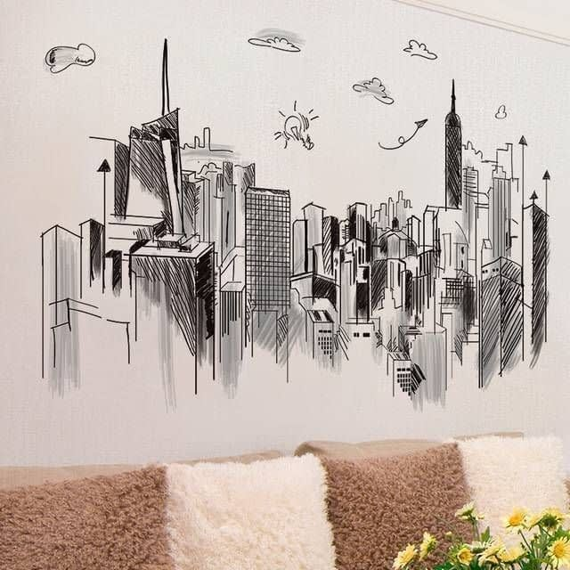SHIJUEHEZI-Black-Buildings-Wall-Stickers-DIY-Architecture-Mural-Decals-for-House-Living-Room-Bedroom-Office_3