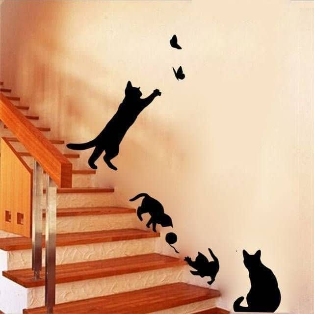 New-Arrived-Cat-play-Wall-Sticker-Butterflies-Stickers-Decor-Decals-for-Walls-Vinyl-Removable-Decal-Wall_0