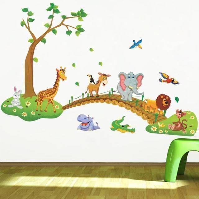 3D-Cartoon-Jungle-wild-animal-tree-bridge-lion-Giraffe-elephant-birds-flowers-wall-stickers-for-kids_0