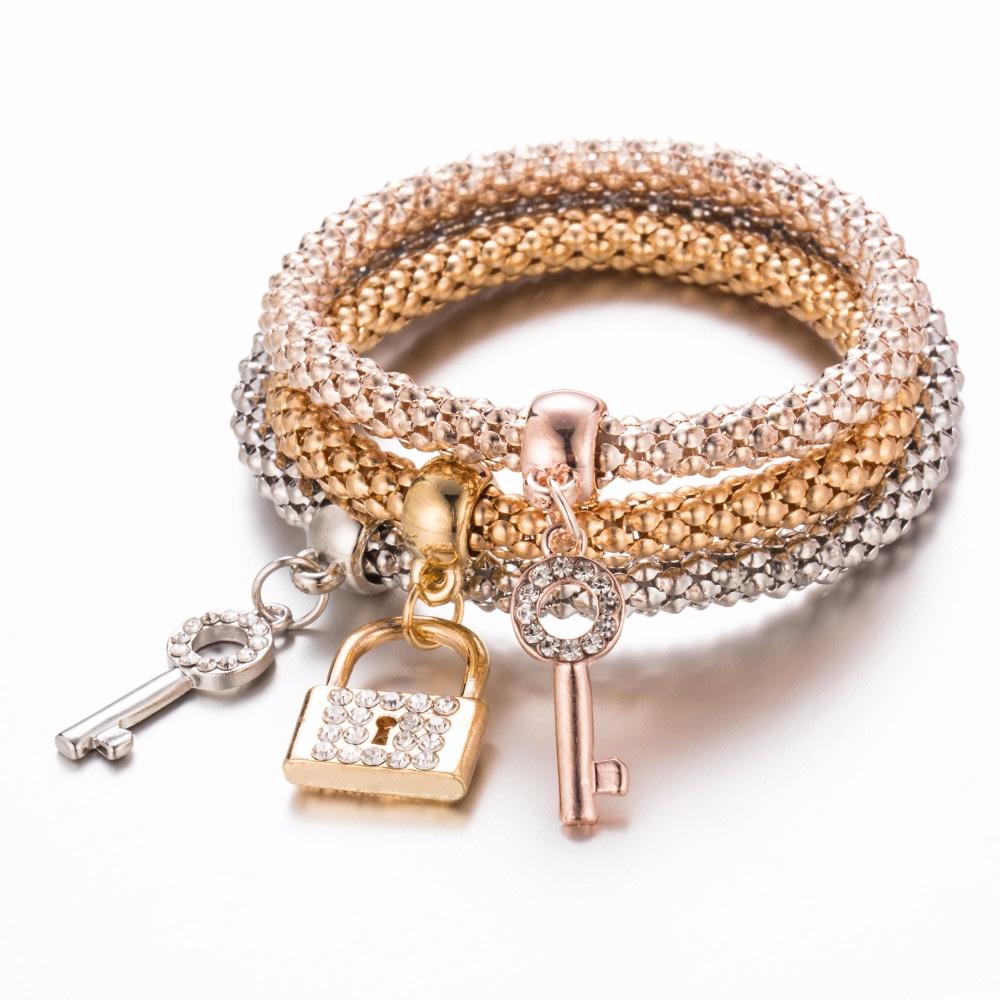 3Pc-Hot-Sale-Fashion-Personality-Lock-key-Shape-Bracelet-All-Match-Glamorous-Gold-Silver-Plated-Rhinestone_0
